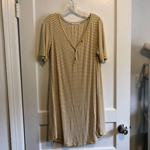 striped t-shirt dress with buttons